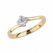 9ct Gold 0.2ct Solitaire Diamond Ring Four Claw twist syle mount